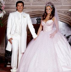 Katie Price's famous pink fairytale wedding dress, something different from the norm.