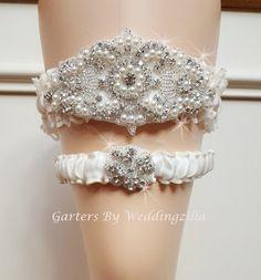 Wedding Garter Set Rhinestone Ivory Lace Belt Pearl Crystal Shell Bridal
