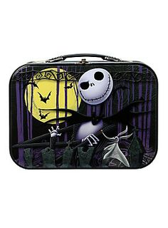 Tin tote from <i>The Nightmare Before Christmas</i> with Jack Skellington graphics, molded plastic handle for easy carrying and a secure metal latch closure.