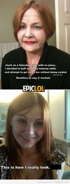 This girl is a GENIUS with makeup! | Epic LOL --- not that i approve, but that's amazing!
