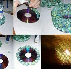 Re-use damaged cd's & create diy candle holder