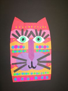 Another Laurel Burch style cat in collage