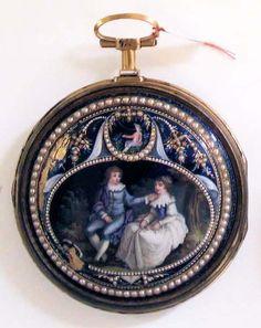 Reloj de bolsillo con escena galante (1776-1850)