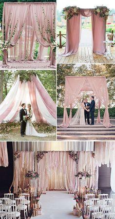 romantic dusty rose fabric wedding backdrop ideas backdrop pink 35 Trendy & Romantic All-Time Dusty Rose Wedding Ideas Wedding Backdrop Design, Wedding Reception Backdrop, Ceremony Backdrop, Wedding Ceremony, Backdrop Ideas, Wedding Draping, Rustic Backdrop, Reception Ideas, Wedding Events