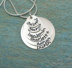 Hand Stamped Necklace - Personalized Necklace - Mommy Necklace - Grandma Jewelry