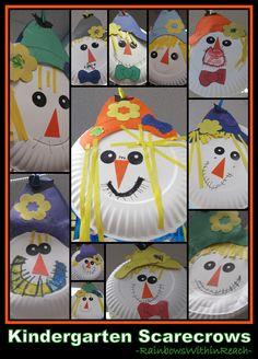 Scarecrows on Paper Plates in Kindergarten (via RainbowsWithinReach)