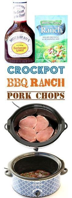 Crockpot Pork Chops Easy BBQ Recipe! {Just 4 Ingredients} The perfect dinner for your busy weeknights! Simple to make and SO delicious! Crockpot Pork Chop Recipes, Bbq Crockpot Pork Chops, Recipes For Pork Chops, Simple Easy Dinner Recipes, Crockpot Dinner Easy, Cheap Easy Dinners, Slow Cook Pork Chops, Cheap Dinner Ideas, Crockpot Recipes Cheap