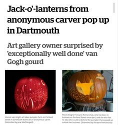 """If you're the mystery carver this  is for you! Im super into everything about this. . From @cbcns  Jack-o'-lanterns from anonymous carver pop up in Dartmouth . Art gallery owner surprised by 'exceptionally well done' van Gogh gourd . A benevolent pumpkin carver with creative flair is anonymously leaving jack-o'-lanterns outside the doors of unsuspecting Dartmouth N.S. businesses. . Jane MacDougald owner of The Dart Gallery said she is """"totally clueless"""" as to who left her a…"""