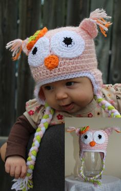 Olivia the Owl Animal Hats, Crochet For Kids, Custom Design, Infant, Owl, Crochet Hats, Children, Handmade, Character