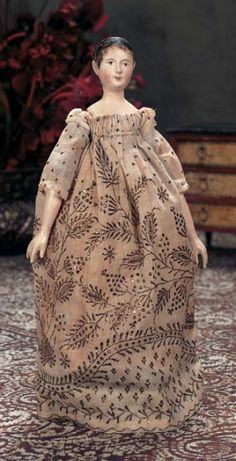 One-piece carved wooden head and torso with heart-shaped face,elongated… Leg Painting, Bjd, Pink Slippers, China Dolls, Old Dolls, Wooden Dolls, Dollhouse Dolls, Antique Toys, Vintage Dolls