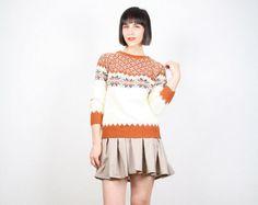 Vintage Nordic Sweater Hippie Sweater Cream Ivory Orange Jumper Ethnic Pullover Ski Bunny Sweater 1970s 70s Knit Top Boho S Small M Medium