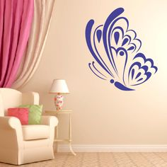 Butterfly Wall Decal STYLE 2. Removable vinyl wall decals. Girls bedroom decoration.