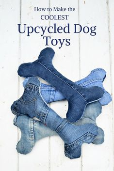 How to upcycle your old jeans into some cool handmade dog toys.  complete with squeakers.