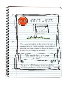Free Notice and Note Anchor Charts and Bookmarks-Sketch Notes. These posters and bookmarks are stellar!