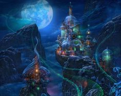 Castle of Ice - castle, magic, glow, sweet, winter, moon, night, awesome, mountain, glowing, cloud, gorgeous, sky, realistic, nice, splendid, scene, palace, beauty, beautiful, lovely, fantasy, scenery, ice, pretty