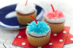 Firecracker Cupcakes recipe -  Boom! Drop these colorful treats on the potluck table, then stand back. #4thofjuly