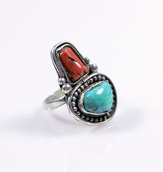 Vintage Southwestern Sterling Silver Turquoise Coral Ring Size 5.5 #Unbranded