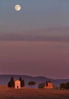 Moonlight over Toscany, Italy #places