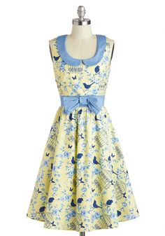 All the World's a Birdcage Dress - Peter Pan Collar, Collared, Cotton, Long, Yellow, Blue, Print with Animals, Bows, Daytime Party, A-line, Sleeveless, Fairytale, Spring