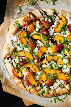 Three Cheese Peach and Prosciutto Pizza with Basil and Honey Balsamic Reduction from Cooking Classy.