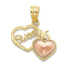14k Rose and Yellow Gold Sweet 16 Double Heart Charm Pendant - 18mm