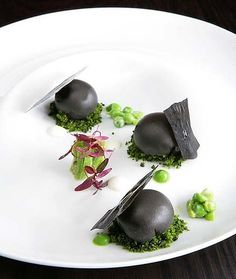 Black sesame and pea fondant at Bentley Restaurant, Sydney.