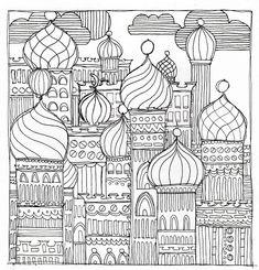 Ausmalen entspannt! Hier gibt's ein Zwiebeltürmchenbild als Freebie zum Ausdrucken – und schon kann losgemalt werden! Viel Spaß! ZUM AUSMALBILD Landscape Drawings, Landscape Art, Gustav Klimt, Friedensreich Hundertwasser, Baby Boy Knitting Patterns, School Art Projects, Colouring Pages, Fabric Painting, Line Art