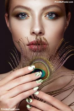 Salon Posters Beautiful With Bright Makeup Manicure Design And Pea Feather On Her Face Art