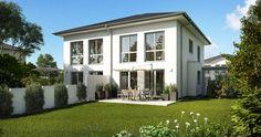 Das Doppelhaus Linus zeigt schon von Außen wie elegantes Wohnen aussehen kann. Durch ein gemeinsames Walmdach werden die Doppelhaushälften optisch miteinander verbunden und gewinnen dadurch den Charakter einer Stadtvilla.