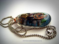 Blue-Green Orgone Pendant Necklace EMF Protection Resin Jewelry Orgonite Programmed With The Highest Universal Love Energy Made To Order by UniverseSweetheArt on Etsy