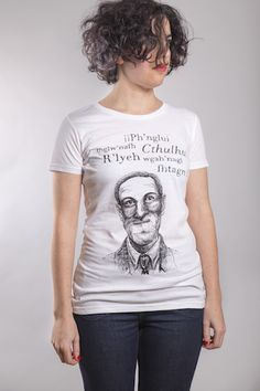 H. P. Lovecraft T-Shirt Woman White