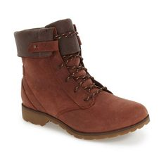 Women's Teva 'De La Vina' Waterproof Lace-Up Boot ($140) ❤ liked on Polyvore featuring shoes, boots, adobe brown leather, lace up fold over boots, teva shoes, teva boots, waterproof leather boots and leather lace up boots
