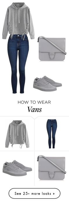 """Grey and blue"" by shiannemariecarpenter on Polyvore featuring Vans, Topshop, Alaïa and WithChic"