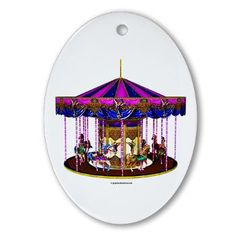 SOLD: The Pink Carousel Ornament (Oval)    The Pink Carousel is a colorful, pretty design most suitable for young kids, toddlers and babies. For more unique designs and gifts like this go to: http://www.cafepress.com/graphicallusions  $10.99