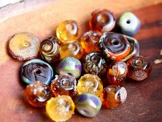 Autumn Orphans beads set  handmade Lampwork Brown by MayaHoney