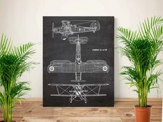 Plane art, Aircraft art, Aeroplane art, Vintage aircraft,  Chalkboard flying art, Air Force, Aircraft Fairey, gift for men, PRINTABLE 11x14 by GBPrintable on Etsy