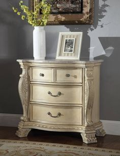 Monaco Antique White Marble Top Hand Carved Design Night Stand