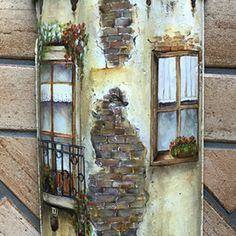 Very detailed acrylic paint work on Ottoman brick. #house#paint #handpainted #handcraft #art #wall decoration #garden #artist #chatbirdy