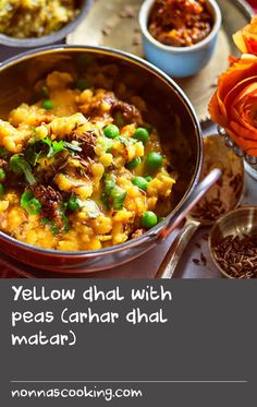 Yellow dhal with peas (arhar dhal matar) | This easy, one-pot dish is flavoured with ginger, cumin and turmeric and mildly spiced with Kashmiri chilli.