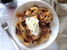 Beef Ragù and Pappardelle with Lemon-Pepper Cream