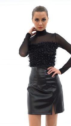 Kikiriki is the admiral fashion store for women. Shop botysuits, sexy club dresses, skirts and more. Long Leather Skirt, Leather Dresses, Leather Mini Skirts, Elegant Outfit, Classy Dress, Vinyl Dress, Leder Outfits, Sexy Blouse, Womens Fashion Online