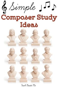 Simple Composer Study Ideas - Teach Beside Me Music Lessons For Kids, Piano Lessons, Piano Teaching, Learning Piano, Music Composers, Music Activities, Elementary Music, Elementary Education, Music Classroom