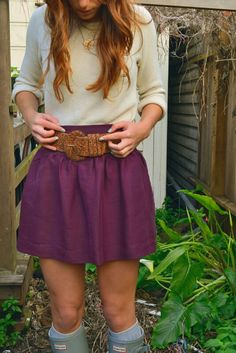 Simple Purple Skirt With Sweater. By-Lily Renee follo Skirt Outfits, Fall Outfits, Summer Outfits, Summer Clothes, Fall Clothes, Pretty Outfits, Cute Outfits, Pretty Clothes, Teen Girl Fashion