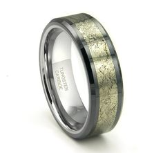 Tungsten Carbide Golden Meteorite Inlay Wedding Band Ring 8mm (30 Letters Free Engraving)