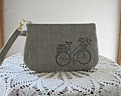 Antiquebasketlady Handstamped Linen Wristlet  Clutch Zipper Gadget Pouch Retro Bicycle Hand Embroidered Made in USA - pinned by pin4etsy.com