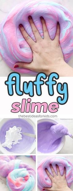Fluffy Slime Recipe for Kids - this slime recipe is without borax and made with shaving cream. Make 3 different colors to turn it into unicorn fluffy slime! via kids crafts Fluffy Slime Easy Fluffy Slime Recipe, Diy Fluffy Slime, Fluffy Slime With Borax, Fluffy Slime Without Glue, Making Fluffy Slime, Slime With Glue, Wie Macht Man, How To Make Slime, Kids Making Slime