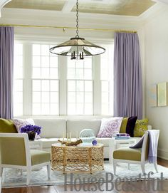 "Lavender, chartreuse, and aqua make a happy color combination in a Scarsdale, New York, living room. ""They're bold colors,"" says designer Pat Healing, ""so I used them only as punctuation."" Bird's Nest Cocktail Table by HB Home; Campion chandelier, Urban Electric.    - HouseBeautiful.com"