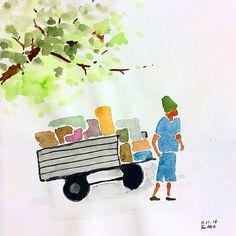 Take a look at people who are carrying heavy loads. Take a look at people who have hard lives. Let's be empathetic and let's try to help them. #drawing  #watercolor  Pessoas que transportam peso, olhe para essas pessoas que levam vida pesada. Tenham vontade de ajudá-los. 무거운 짐을 나르는 사람들, 힘들게 사는 사람들을 보아라. 측은한 마음, 밀어주고 싶다는 마음을 가지자. #짐 #힘든삶 #측은지심