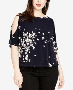Rachel Rachel Roy Women's Plus Size Floral Cold-Shoulder Top - True Navy Combo - Rachel Roy, Trendy Plus Size, Plus Size Tops, Floral Cold Shoulder Top, Shoulder Tops, Floral Tops, Stylish, Clothes, Navy