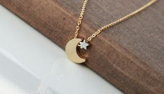 Gold Necklace Gold Filled Chain Gold Moon Star by lilabelledesign, $26.00
